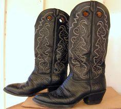 Vintage Black Cowboy Boots / Western Boots Size 8 1/2 D 8.5 D / Men's Black Leather Boots / Hondo Mexico Cowboy Boots