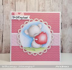 """""""Mouse with Heart"""" from the Lee Holland Collection illustrated by Lee Holland for Whimsy Stamps. Valentine Day Cards, Valentines Diy, Whimsy Stamps, Saint Valentine, Valentine's Day Diy, I Card, Wedding Cards, Card Making, Paper Crafts"""