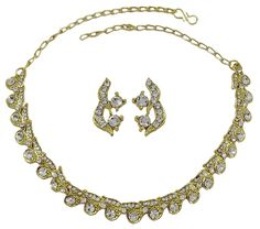 Matra Gold Tone CZ Stone 2 Pcs Necklace Earrings Set Indian Women Traditional Jewelry *** You can find more details by visiting the image link. (This is an affiliate link and I receive a commission for the sales)