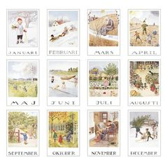 Elsa Beskow, The Calendar - Around The Year Elsa Beskow, Vintage Images, Vintage Art, Vintage Quilts, Material Didático, Vintage Calendar, Months In A Year, Children's Book Illustration, Christmas Art