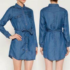 Love Tree Tencel Dress Button Down Medium Blue Denim Look Long Sleeve Sz L NWT #LoveTree #ShirtDress #Many