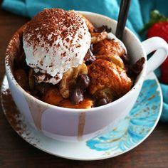 Banana-Nutella-Croissant French Toast In a Mug