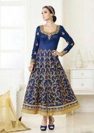 Wedding Wear Blue Silk Embroidered Work Anarkali Suit