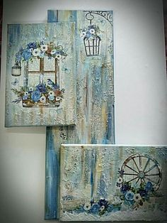 Proyecto cuadros Pallet Wall Art, Diy Wall Art, Mixed Media Canvas, Mixed Media Art, Painting The Roses Red, Diy Canvas Art, Abstract Canvas, Decoupage Vintage, Tile Art