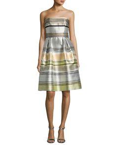Carmen Marc Valvo Striped Strapless Satin A-Line Dress, Sand/Multicolor
