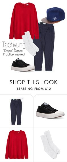 """Taehyung ""Dope"" Dance Practice Inspired Outfit"" by mochimchimus ❤ liked on Polyvore featuring Old Navy, Converse, H&M, Hanes and bts"