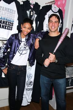 Strike 'em out! Chanel with #Yankee Mark Teixeira at #VSPINK SoHo #NYCLove