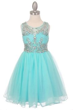 Aqua Blue Fabulous Tulle Sleeveless Rhinestone Embroidered Flower Girl Dresses SKU : CC65007AQ