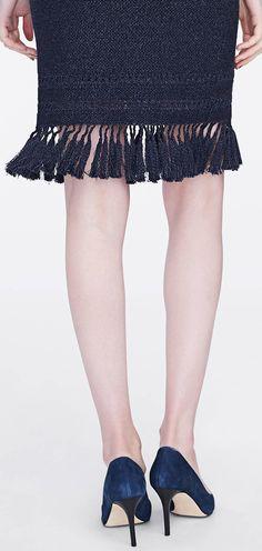 The navy knit Benson skirt fringe