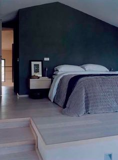 dark blue bedroom wall (via French By Design)