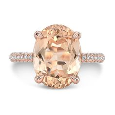 4.60 Ct. Brilliant Oval Cut Morganite Solitaire Engagement Ring on 14K Rose Gold with Diamonds