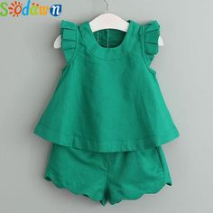 2017 New Arrival Spring&Summer Girls Clothing Sets O-Neck Sleeveless Solid Kids Clothing Sets Children Clothing Girls Summer Outfits, Dresses Kids Girl, Kids Outfits, Summer Girls, Children's Outfits, Frock Design, 2 Piece Outfits, Kind Mode, Outfit Sets