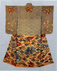 Furisode with design of latticework, chrysanthemums, waves (seigaiha), plum and cherry blossomsPaste-resist (Yuzen) and tie-dyeing and embroidery on parti-colored silk crepe (chirimen), c. 1728 - 29, The provenance of this kosode is revealed by an ink inscription found on a piece of red silk: a renowned master, Konishi Kizaemon, Tokyo, presented this furisode as a memento from his beloved daughter, who died at the age of 19 in 1730, to his family temple for her memorial service.