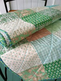 Mint green & Sorbet orange baby quilt by quiltstudio444 on Etsy, $88.00