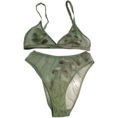 Pre-owned La Perla Bra And Panty Set ($99) ❤ liked on Polyvore featuring intimates, bras, underwear, lingerie, bras & panties, accessories, green, green bra, la perla bra and la perla