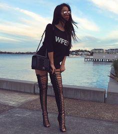 Lace Up Pee-Toe Stiletto Heel Black Thigh High Boots fashion black lace up pumps heels, simple pee-t Black Thigh High Boots, Black Boots, Tee Dress, Looks Cool, Fashion Killa, Fashion Outfits, Womens Fashion, Cheap Fashion, Fashion Clothes