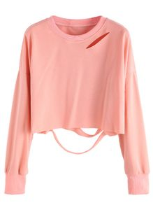 Pink Drop Shoulder Cut Out Crop T-shirt 5.45€