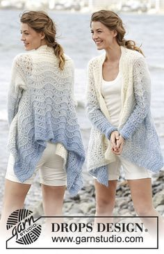 """Shades of Sky - Knitted DROPS jacket worked in a square with wave pattern , worked top down in 1 strand """"Alpaca"""" and 2 strands """"Kid-Silk"""". Size S-XXXL. - Free pattern by DROPS Design"""