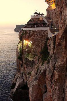 Clifftop Sunset, Balearic Islands, Spain photo via ossieEsto es Cova d' en xoroi, en cala 'n Porter Menorca.