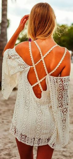Summer style | white lace summer dress