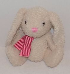 """10"""" 2009 OLD NAVY Soft CREAM COLORED Plush Bunny RABBIT w/ Red White Scarf #OldNavy"""
