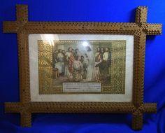 Antique German Tramp Art Picture Frame 1939 Communion Christianity Motive #AK