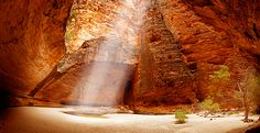 Cathedral Gorge in the Bungle Bungles, Western Australia - a natural amphitheatre (seriously amazing acoustics). Photos don't do it justice - people are sitting beside the water and appear as mere specks even when image is viewed large. 350 million years old, World Heritage Site.