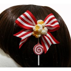 Striped Carnival Popcorn and Lollipop Hair Clip and Pin (20 CAD) ❤ liked on Polyvore featuring accessories, hair accessories, bow hair accessories, barrette hair clips, bow hair clips, hair bows and hair clip accessories