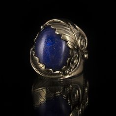 Brass Leaf Ring Native American Inspired Design, Tribal Ring, Gemstone Ring, Semi-Precious Stone Ring, Tribalik (Code 31) by TRIBALIK on Etsy