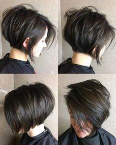 Short Layered Brunette Bob Short Layered Bob Haircuts, Inverted Bob Hairstyles, Bob Haircuts For Women, Straight Hairstyles, Braided Hairstyles, Layered Hairstyles, Wedding Hairstyles, Celebrity Hairstyles, Medium Hairstyles