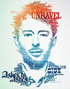 Typography Art: Thom Yorke of Radiohead Creative Typography, Typography Poster, Graphic Design Typography, Graphic Art, French Typography, Poster Quotes, Vintage Typography, Typography Quotes, Typography Letters