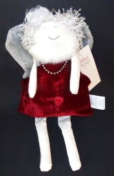 The Woof & Poof Christmas Velvet Angel is delightfully dressed in Christmas attire in velvet dress ,wings,  and bell.    They all make a festive Christmas decoration for your home decor or a great Christmas gift for your Woof & Poof collectors.  #woof