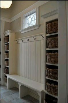 Mudroom: baskets easily accessible for little kids for mitts, scarves etc