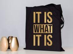 Tote bag, metallic foil, gold foil tote, black tote bag, quote tote bag, gold typography, book bag, cotton tote bag, school bag, shopper