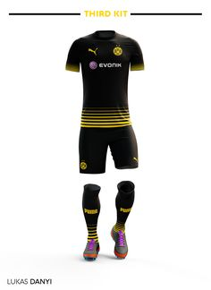 Borussia Dortmund Football Kit on Behance Soccer Uniforms, Soccer Shirts, Football Kits, Football Jerseys, Manchester United Away Kit, Sports Jersey Design, Track And Field, Rugby, Wetsuit