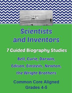 Guided Biography Study Set of 7 - Scientists and Inventors. Each of the 7 studies is a 10 or activity for students to complete using a published biography of the subject. Answer key and CC standards included. All may be purchased individually in my store. 4th Grade Social Studies, 5th Grade Science, Teaching Social Studies, Teaching Science, Teaching Resources, Teaching Ideas, School Days, School Stuff, How To Get Followers