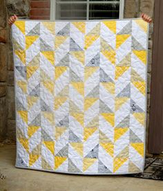 36 x 40 Quilt number 3 in the yellow and gray series is this cute baby quilt. I like that this one doesn't have a border and I got t...