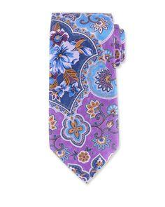 Large Paisley Silk Tie, Purple by Ermenegildo Zegna at Neiman Marcus.