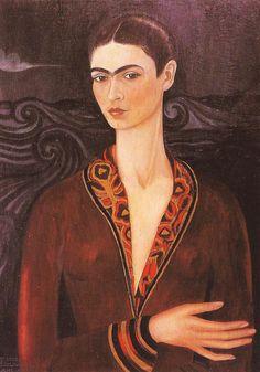 self portrait in velvet. kahlo. 1926