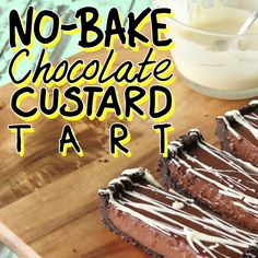 Oreo crust with a no bake custard centre and a drizzle of white choc