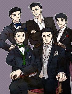 "Bruce and his sons by baveyoon on deviantART --Richard ""Dick"" Grayson, Jason Todd, Tim Drake, Damian Wayne, Bruce Wayne"
