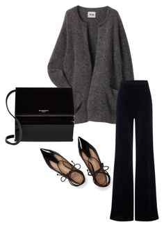"""Grey Acne cardigan"" by trendsy on Polyvore featuring Acne Studios, AG Adriano Goldschmied, Givenchy and Tory Burch"