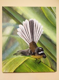 A commission Fantail painting! Tui Bird, World Of Wearable Art, Backpiece Tattoo, New Zealand Art, Nz Art, Examples Of Art, Weird Creatures, Bird Drawings, Wild Birds