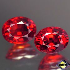 SENSATIONAL VVS AA PAIR OVAL FIERY RED RUBY NATURAL