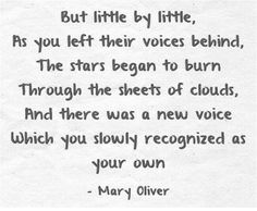 But little by little, as you left their voices behind, the stars began to burn through the sheets of clouds and there was a new voice which you slowly recognized as your own. Mary Oliver - The Journey Quotes To Live By, Me Quotes, Yoga Quotes, Famous Quotes, Qoutes, Cool Words, Wise Words, Mary Oliver Quotes, Note To Self