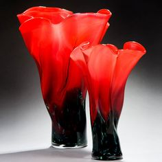 New Series of Art-Glass Red Poppy Vases/Vessels avail in 3 sizes (came about from doing the 'Memories' Red Poppy wall to floor installation. By Peter Layton★༺❤༻★