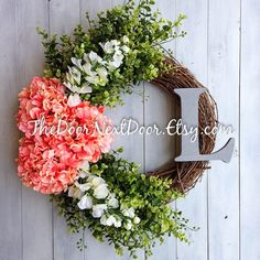 Front Door Summer Wreath - Spring Hydrangea Wreath with Monogram - All Year Wreath - Shabby Chic Decor