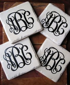Print font letters onto paper and mod podge to tile.