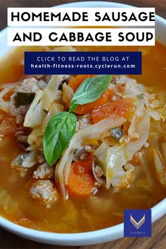 This fast cabbage and homemade Sausage soup will amaze you! , nutritious meals that will keep you on track with your fitness goals by Cyclerun Fitness Healthy Eating Habits, Healthy Lifestyle Tips, Easy Healthy Recipes, Healthy Cooking, Vegetable Soup Recipes, How To Cook Sausage, Comfort Food, Cabbage Soup, Homemade Soup