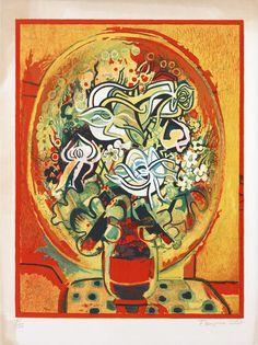 The Red Bouquet, 1969 By Françoise Gilot (France, born Lithograph. Henri Fantin Latour, Georges Braque, Francoise Gilot, French Artists, Pablo Picasso, Flower Art, Still Life, Modern Art, Crown